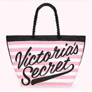 NWT Victoria's Secret Logo Striped Summer Tote Bag